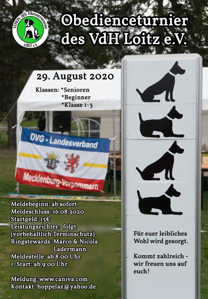 Einladung Obedienceturnier 2020